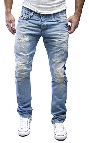 AMICA by MERISH Herren Straight Fit Destroyed Blue Jeans Hose Blau Neu J1154 Hellblau 36/34