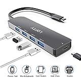 DELL XPS BYTTRON Hub USB C Adaptador de concentrador Tipo C de Aluminio multipuerto 5 en 1 con 3 Puertos USB 3.0 y Lector de Tarjetas SD//TF Compatible con MacBook Pro Gris HP Spectre 12//13 y m/ás