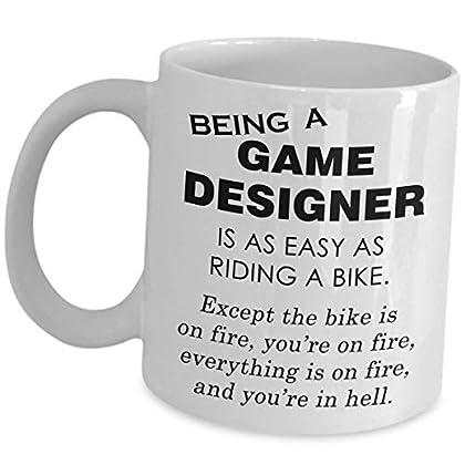 Game Developer Mug - Riding A Bike On Fire - Vi...