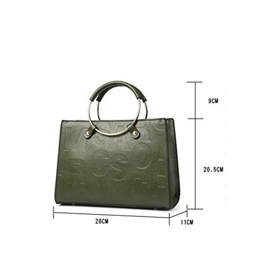 Ms. PU Leder-Handtasche Schulter Umhängetasche Geprägter Reißverschluß black