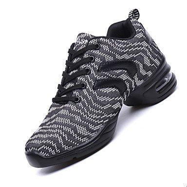 Scarpe da ballo-Non personalizzabile-Da donna-Danza moderna-Quadrato-Tessuto-Grigio Trasparente gray