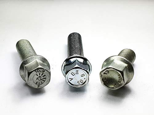 Lot de 20 boulons de roue M14 x 1,5 Boule R12 (diamètre 24 mm) non compatibles avec les jantes d'origine.