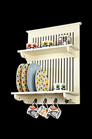 Aston Buttermilk Kitchen Plate Rack, Wooden and Wall Mounted. Solid