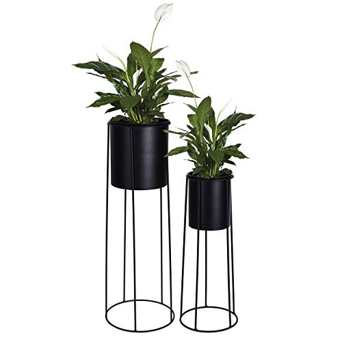 2tlg Blumentopfständer Set H65/45cm Schwarz Metallständer Blumentopfhalter