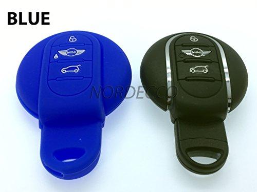 100% alta qualità graduata in portachiavi a forma di silicone per 201420152016mini F56Cooper Cooper S Clubman Paceman Countryman JCW GP 3tasto Smart Remote KEYLESS Fob copertura (blu)