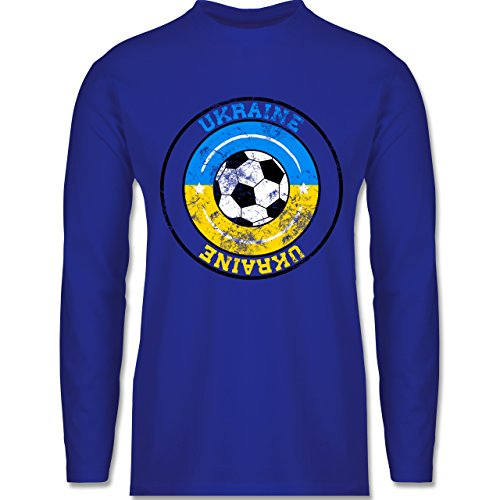 Shirtracer Fußball - Ukraine Kreis & Fußball Vintage - Herren Langarmshirt Royalblau