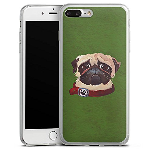 Apple iPhone X Slim Case Silikon Hülle Schutzhülle Mops Hund Zeichnung Silikon Slim Case transparent