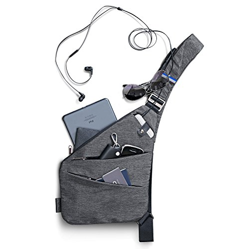 NIID-FINO Sling Schulter Crossbody Brust Tasche Slim Rucksack Multipurpose Daypack für Herren Radfahren Walking Wandern Trip Passt bis zu 7,9 Zoll iPad Mini (Rechts, Grau) - Slim Brust