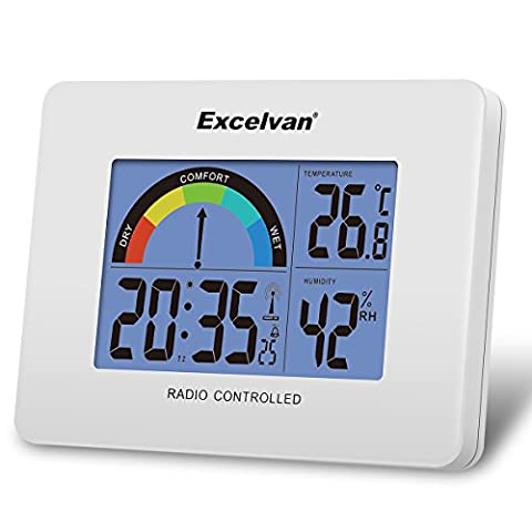 Excelvan Réveil Radio-Piloté Digital Mural & Bureau Thermomètre & Hygromètre à Piles avec Mètre Coloré de Confort Température Humidité Calendrier Heure Jour - Blanc