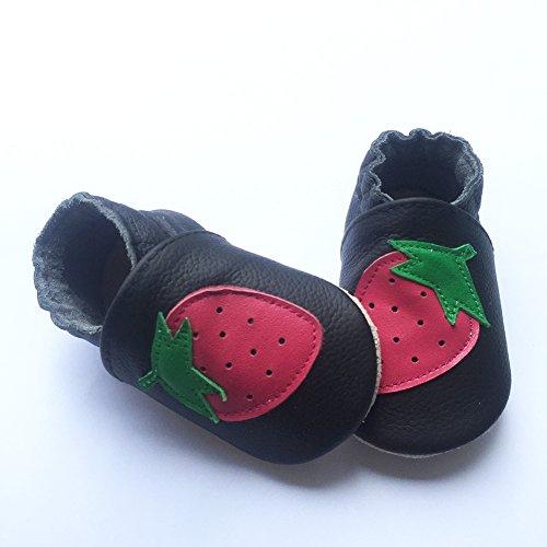 Freefisher Lauflernschuhe, Krabbelschuhe, Babyschuhe - in vielen Designs Karo Blau,6-12 Monate Rot Erdbeere auf Schwarz