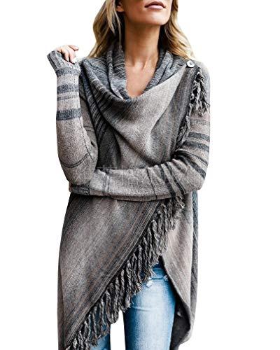 CuteRose Women's Knitted Sweater Open Front Wrap Shawl Fringe Cardigan Grey M -