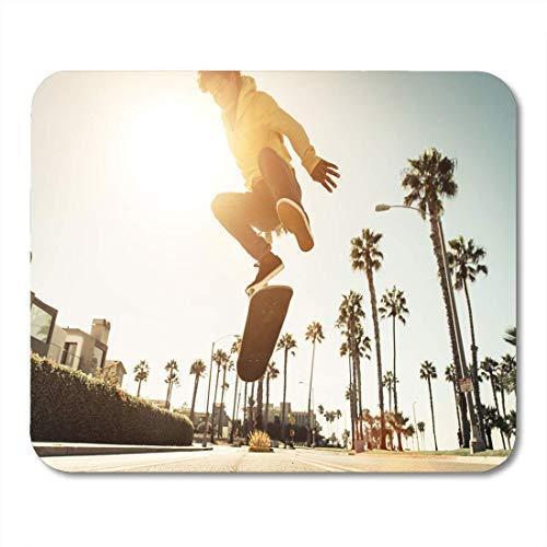 Mauspads Strand-Skater-Jungen-Straße in Los Angeles, das Venedig-Mausunterlage für Notizbücher, Tischrechner-Matten Skateboard fährt Bürozubehör
