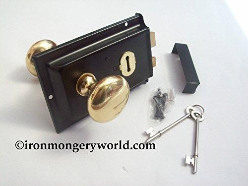 Ironmongery World Traditional Old Victorian Style Rim Door Lock