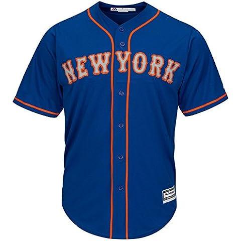 Majestic New York Mets Cool Base MLB Camiseta Alternate Road Azul, azul, small