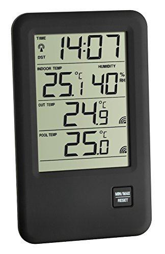 TFA Dostmann Funk-Poolthermo-Hygrometer Malibu 30.3053, schwarz mit Batterien