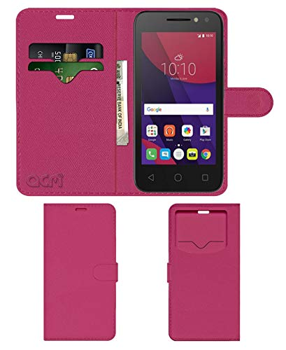 Acm Leather Window Flip Wallet Front & Back Case for Alcatel Pixi4 Mobile Cover Pink