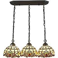 Gweat 8 pulgadas de lujo barroco europeo Tiffany luz pendiente de la lámpara Living Room Restaurant Lámpara-3 luces