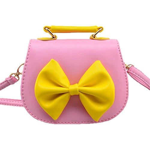 Moolecole Little Fashion Lady Bowknot Sac à Bandoulière Pu Sac Mode Sac à Main De Cadeau d'Anniversaire Pour Le Bébé