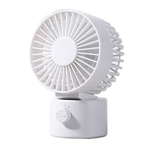 Hianjoo USB Ventilator Doppelblatt Ultra Leise Mini Tischventilator Lüfter Tragbarer Persönlicher USB Desk Fan mit 2 Verstellbarer 70 Grad Oszillierend Lüfter für für den Zuhause und Büro - Weiß -