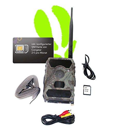 Optimus 3G Funk Wildkamera, GPRS / MMS - inkl SD und SIM Karte - VORKONFIGURIERT . mit Batterien, Überwachungskamera, Auslösezeit 0,4 Sek. Bilder für 2 € im Monat - Top Angebot