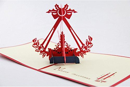 Handgemachte 3D popup Pop-up Origami Handwerk Papercraft Papierkunst Weihnachten Kerzenlicht Grußkarten, Weihnachtskarten, saisonale Karten, Festival, Weihnachten