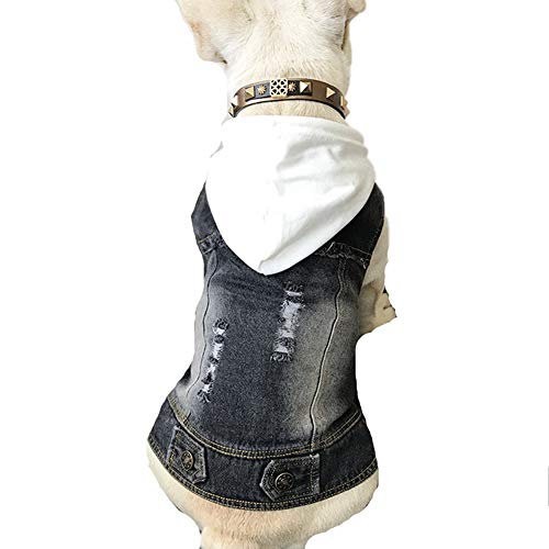leidung Mantel, Hund Französisch Bulldog Jeansjacke Jeans mit Kapuze Weste für Mops Katze Haustier Kostüm ()
