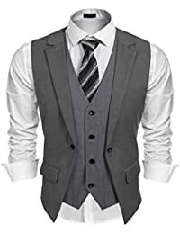 cb3aefd0771 Coofandy Men s V-neck Sleeveless Slim Fit Jacket Business Suit Vests