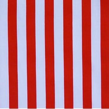 Red White Stripe Polycotton Fabric Per Metre Amazon