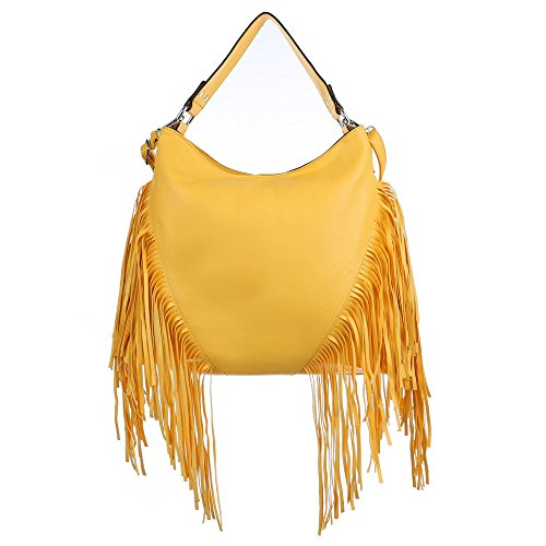 Schultertasche Handtasche mit Fransen Beige Grau Gelb
