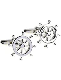 Men's Stainless Steel Boat Steering Wheel Shape Men Cuff Link Cufflinks One Pair