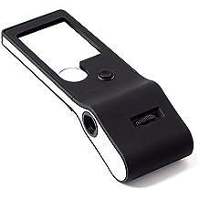 Fancii - Mini Lupa con Luz LED 3X 10X con Lupa de Joyeros 15X Ajustable - Lente de Aumento Portátil Pequeña y Luz UV Para la Lectura, Monedas, Sellos, Valoración de Joyas