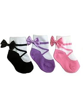 Baby Emporio - Calzine neonata con look scarpa - antiscivolo - in sacchettino regalo - 3 paia - in morbido cotone...