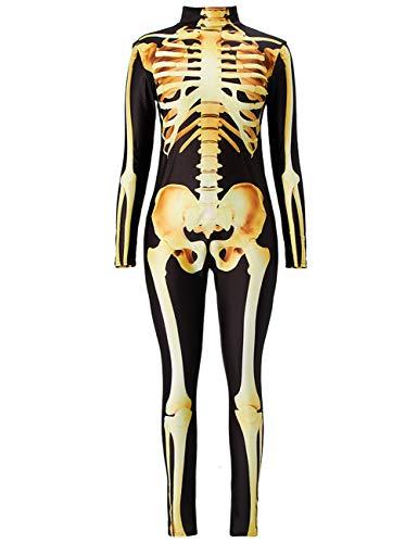 AIDEAONE Halloween Kostüm Damen Skelett Overall Jumpsuit Knochen Skeleton Anzug Karneval Fasching Schwarz L