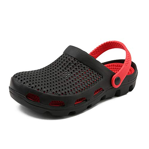 HILOTU Sandali Estivi per Uomo Pantofole da Esterno Traspiranti Testa Rotonda in Pelle PU Infradito su Scarpe Antiscivolo Leggere (Color : Nero, Dimensione : 44 EU)