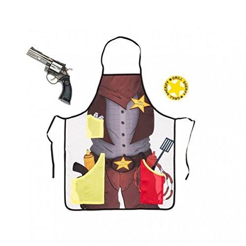 Grill Sheriff Schürze mit Flaschenöffner und Feuerzeug-Revolver - Grillschürze Kochschürze Grill-Sheriff Küchenschürze (Revolver Flaschenöffner)