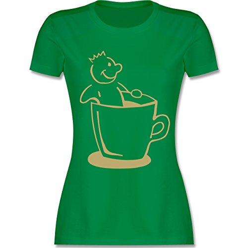 Küche - Kaffee König - tailliertes Premium T-Shirt mit Rundhalsausschnitt für Damen Grün