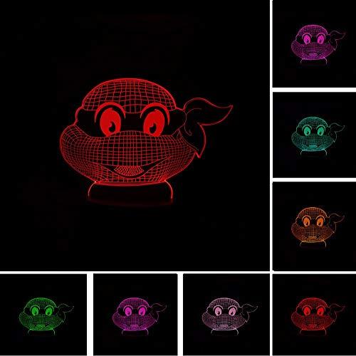 Wmbz Teenage Mutant Ninja Turtles Atmosphere 3D Visual Lampe Nuit Lumière Led Chambre Mariage Décoration De Vacances Et Cadeau De Famille Présent