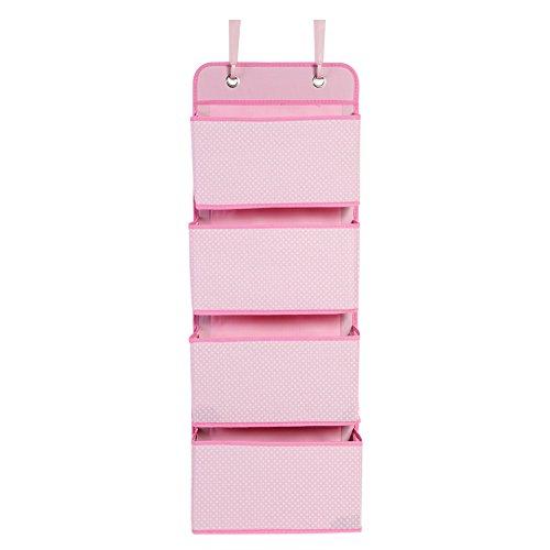 Hängeaufbewahrung Beutel Hängende Aufbewahrungstasche Hängeorganizer Faltbare Tasche Wandtasche aus Stoff (Pink) (Stoff-gegenstände-taschen)