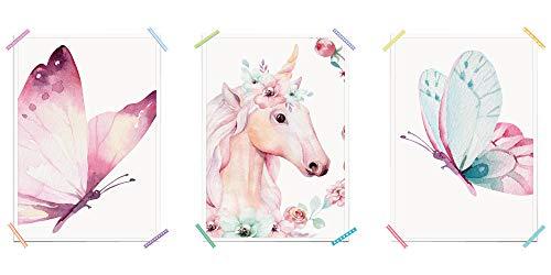 myprinti® 3er Set Kinderzimmer Poster Babyzimmer Bilder | Mädchen Baby | Wanddeko Bildergalerie Deko | Größe DIN A3 | Schmetterling rosa, Einhorn Blumen, Schmetterling blau -