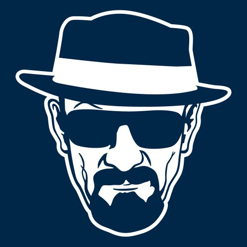 clothinx Damen T-Shirt Breaking Bad Heisenberg Navy mit Weiß