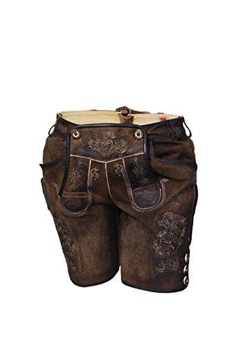 Kurze Damen Lederhose, Ledershorts, Lederbermuda, braun, antik Look, echtes Leder (40)