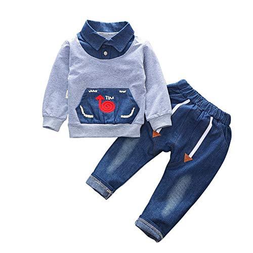 Baywell Kinder Baby Jungen Mädchen Langarm Kleidung Set, Jungen Tops Shirt + Lange Hosen Casual Outfits Anzüge (110/24-36Monat, Grau)