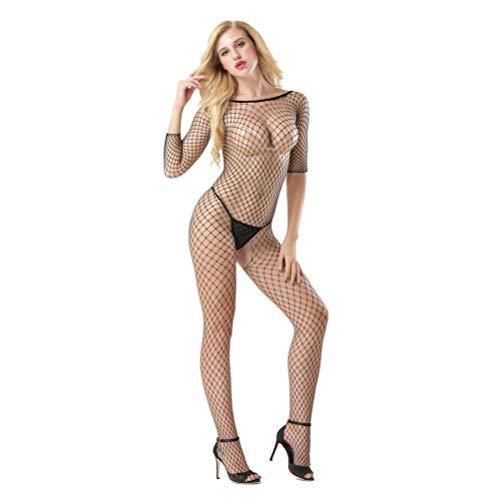 Sexy Bodystocking Netz Catsuit feine Spitze Dessous Unterwäsche Reizwäsche Kombination Overall langarm offen im Schritt