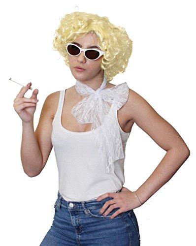 Déguisement accessoires pour adulte avec écharpe en dentelle blanche + des lunettes blanches + une perruque blonde + une fausse cigarette. Idéal pour les enterrements de vie de jeune fille ou les spectacles de danse ambiance rock'n roll des années 50's.