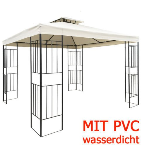 WASSERDICHTER Pavillon Borneo 3x3m Metall inkl. Dach Festzelt wasserfest Partyzelt (Beige)