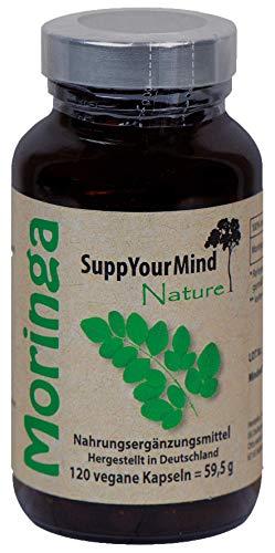 Moringa Oleifera Kapseln | 1200 mg pro Tagesdosis | 100% Vegan | ISO Zertifiziert und Kontrolliert | Rohkost Superfood | Qualitätsprodukt von SuppYourMind nature