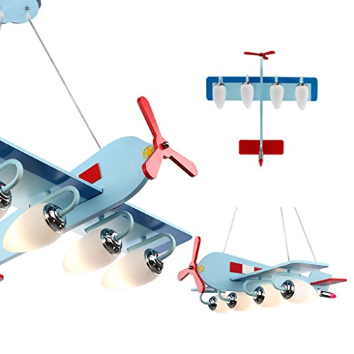 Guo Kinderzimmer-Lichter Jungen-Raum-Flugzeug-Lichter Kronleuchter-Pers5onlichkeit-kreative Lampen E14 Lampen-Hafen - 3