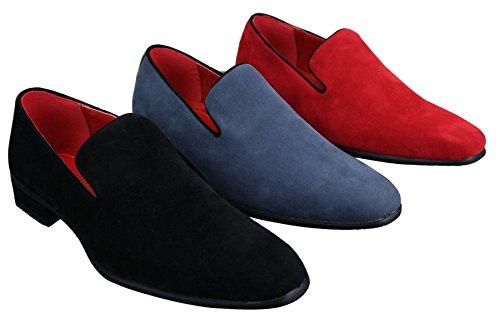 Herrenschuhe Blau Rot Schwarz Leather Futter Wildleder Optik Lässig Slip On Schwarz