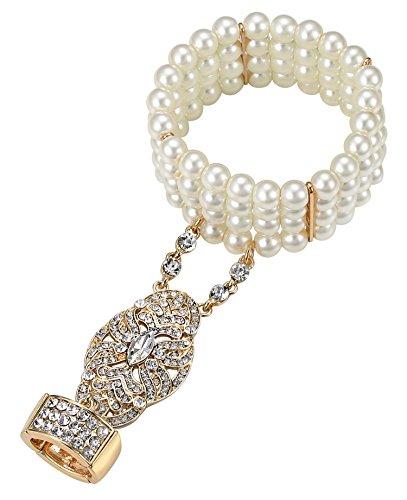 Babeyond Damen Ring Armband Set Verstellbar Retro 1920er Party Kristall Perlen Verbunden Ring und Armband Blinkende Great Gatsby Accessoires Schmuck Gold