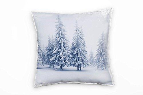 Paul Sinus Art Winter, weiß, grau, schneebedeckte Nadelbäume Deko Kissen 40x40cm für Couch Sofa...